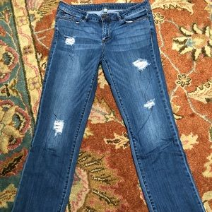 Soho distressed mid rise jeans